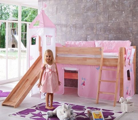 Jett European Single Mid Sleeper Bed with Princess Tower, by Harriet Bee