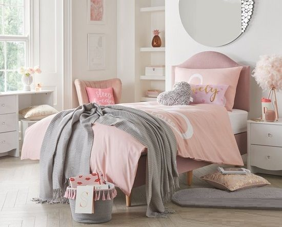 Princess Divan with Headboard and Mattress - Pink