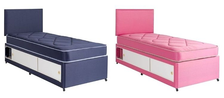 small single bed with storage in pink or blue