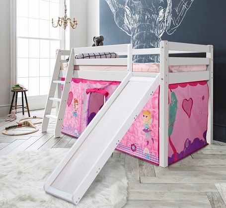 Cabin Bed Thor Midsleeper with Slide & Fairies Tent