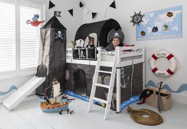 Cabin Bed with Slide Midsleeper Kids Pirate Hideaway with Tent, Tunnel & Tower