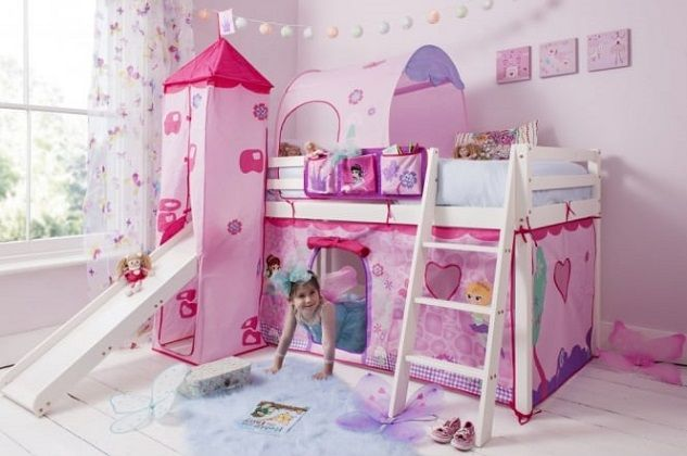 Cabin Bed with Slide, Tent, Tower & Tunnel in Pink Fairies Design