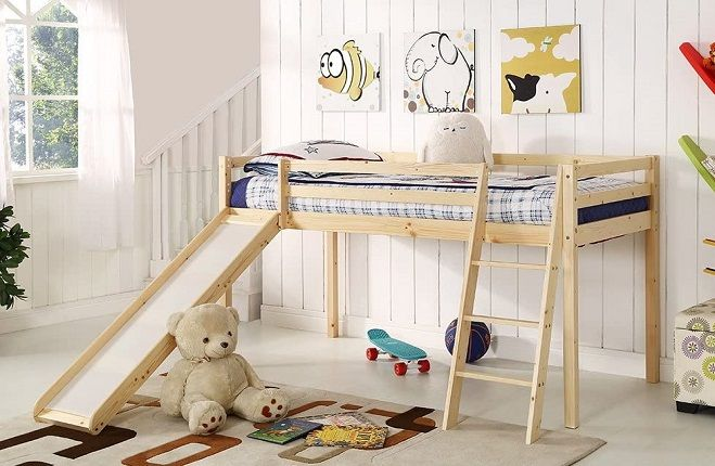 Children's Cabin Bed Frame with Slide & Ladder, by Home Detail