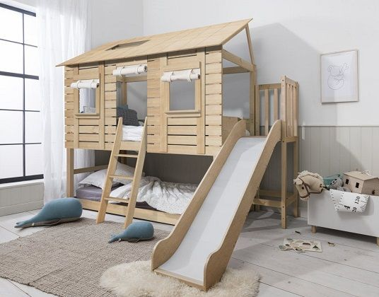 Christopher Midsleeper Treehouse with Slide in Natural