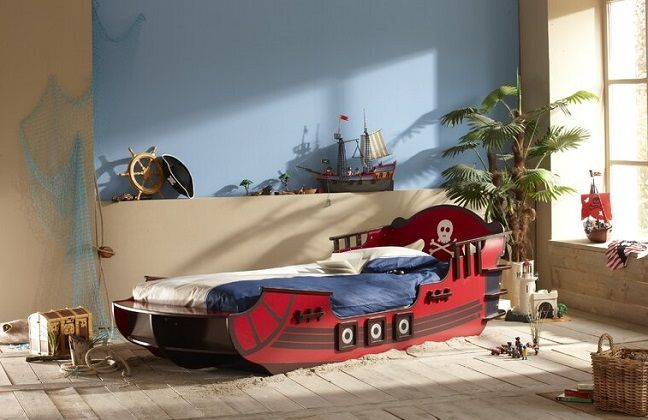 Crazy Shark Pirate Single Bed Frame, by Just Kids
