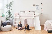 European Single Mid Sleeper Bed with Slide, by Hoppekids