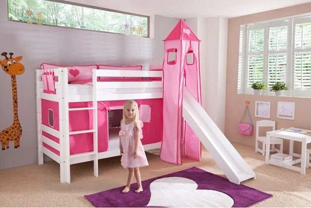 Faircloth European Single Bunk Bed with Slide and Pink Textil Set, by Zoomie Kids