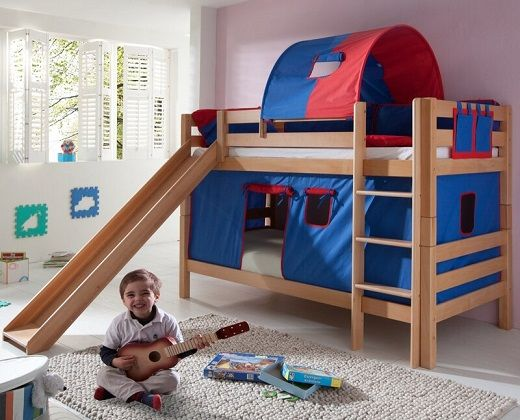Faircloth European Single Bunk Bed with Slide and Textil Set, by Zoomie Kids