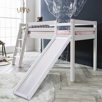 Mid Sleeper Cabin Bed with Slide in White, by Noa and Nani