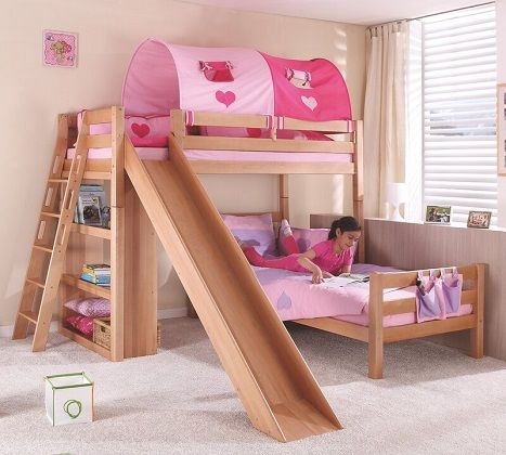 Reina European Single L-Shaped Bunk Bed with Slide, by Harriet Bee
