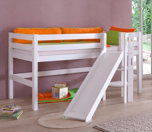 Rialto European Single Mid Sleeper Bed with Slide, by Zoomie Kids