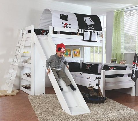 Viviana European Single L-Shaped Bed with Slide, Bookcase and Tunnel, by Harriet Bee