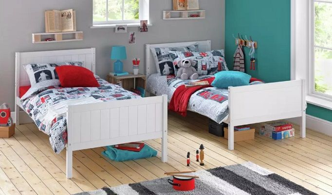 Argos Home Detachable Bunk Bed Frame separated into two beds