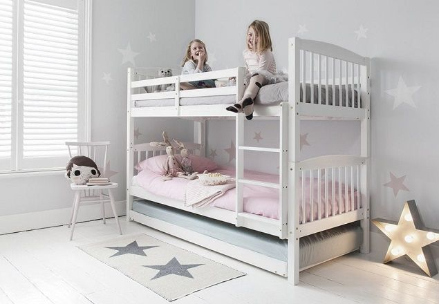 Anders Triple Bunk Bed with 3 Single Beds in White, by Noa and Nani