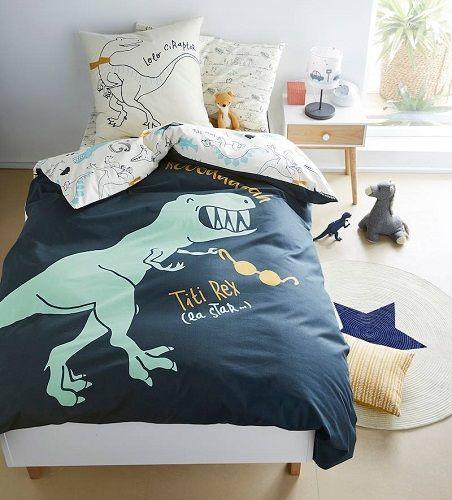 Children's Reversible Duvet Cover & Pillowcase Set, Dinosaur Theme