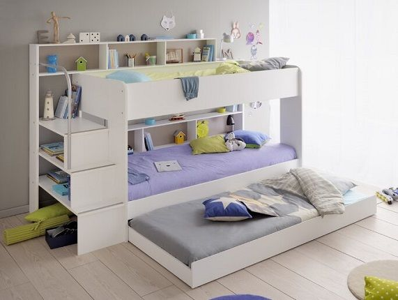 Ciara European Single Bunk Bed with Stairs and Trundle Drawer