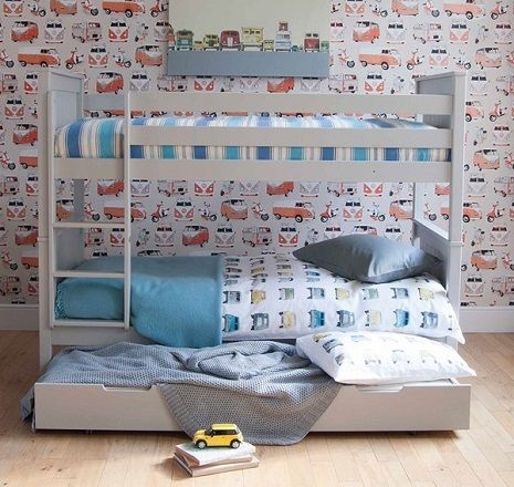 Classic Beech Bunk Bed with Trundle Drawer, by Little Folks Furniture