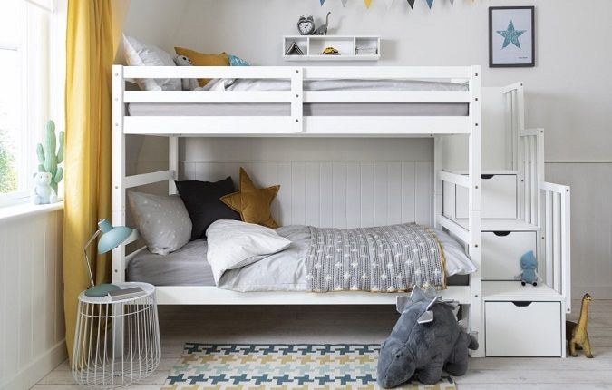 Maya Bunk Bed with Stairs in White