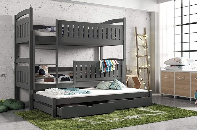 Modern Kids Children Wooden Solid Pine Bunk Trundle Bed, by Arthauss Furniture