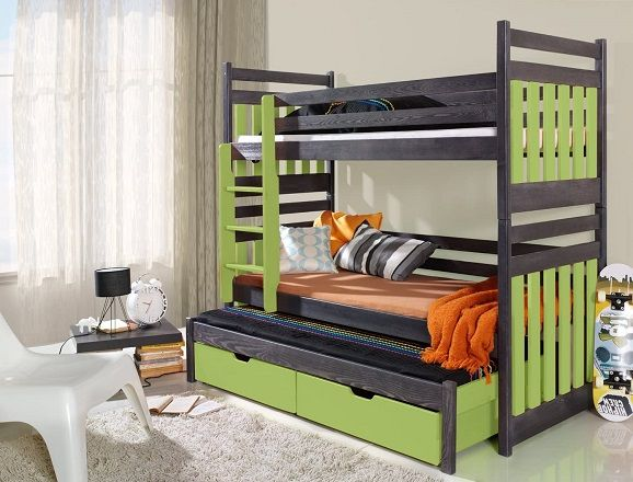 Triple Bunk Bed with Trundle, Drawers and Mattresses, by Ye Perfect Choice