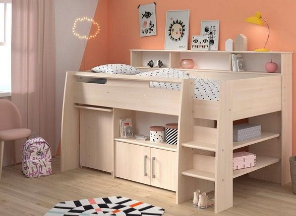 Kenny Mid Sleeper Bed Frame with Pull Out Desk