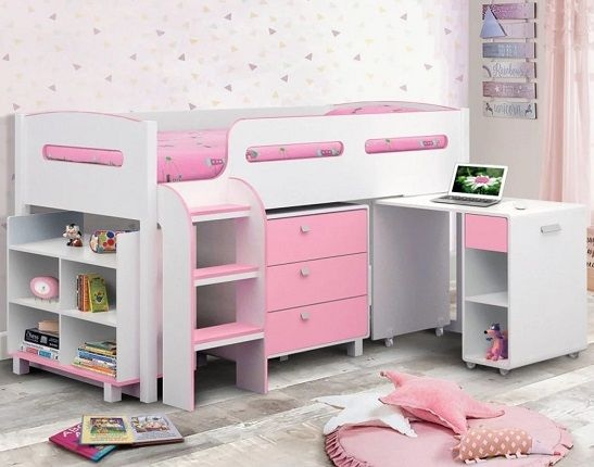 Kimbo Kids Mid Sleeper Sleep Station Desk Cabin Storage Bed Frame