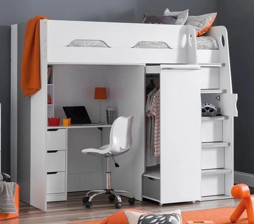 Pegasus White and Silver Wooden High Sleeper with Wardrobe