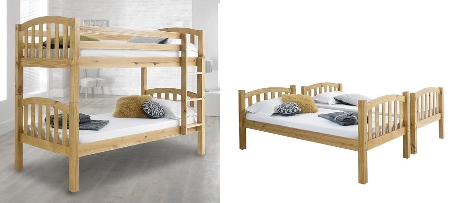 American Solid Pine Wooden Bunk Bed Frame