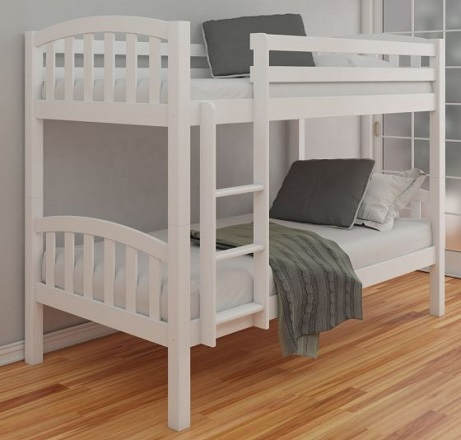 American White Finish Solid Pine Wooden Bunk Bed Frame