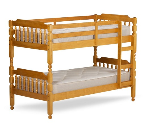 Colonial Honey Pine Wooden Bunk Bed Frame