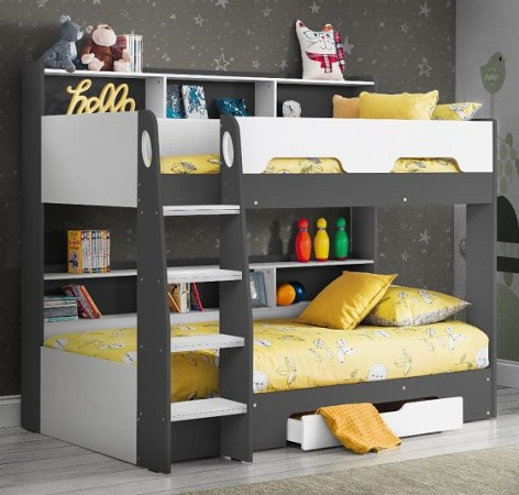 Orion Grey and White Wooden Storage Bunk Bed Frame Only