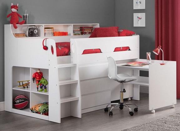 Jupiter White Mid Sleeper Bed with storage